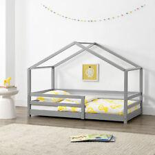 Kinderbett mit Rausfallschutz 80x160cm Haus Holz Hellgrau Bettenhaus Hausbett
