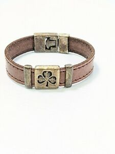 Artisan Silver Tone Brown Leather Clover Band Bracelet 7.5 Inches
