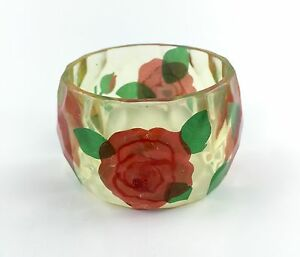 """""""CRYSTAL ROSES"""" CHUNKY BANGLE BRACELET VINTAGE INSPIRED FLOWERS IN CRYSTAL CLEAR"""