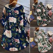 Plus Size Women Floral Print Mini Dress Summer Party Long Long Sleeve Dresses