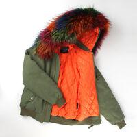 Luxury Women REAL Raccoon FUR Hood BOMBER Coat Casual Jacket Parka Wram Winter