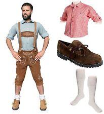 5-teiliges Trachtenset hell B Trachtenlederhose 46-60 Schuhe,Hemd,lange Socken