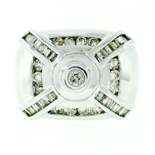 Statement Mens 14K White Gold 1.49ct Round Baguette Diamond Large X Band Ring