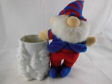 "CHOSUN PLUSH ELF Christmas Ornament 7"" + white cup vase candle jar holder Japan"