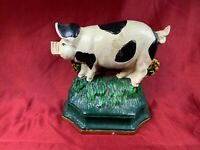 "Vintage Cast Iron Spotted Pig Door Stop Painted Farmhouse Folk Art 5 1/4""  E401"