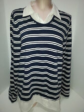 TOMMY HILFIGHER Womens 2 In 1 Collar Pullover Blouse Top Shirt Sz XL Blue White