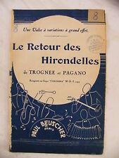 Partition Le Retour des Hirondelles de Trognée et Pagano Valse