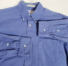 Men's Hathaway Classic Blue Long Sleeve Shirt M 16-33 Sterling Pinpoint