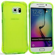 Green Transparent Hand Grip Clear TPU Case Cover For Samsung Galaxy S6 Edge
