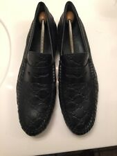 Gucci Men's Black Leather Web GG Guccissima Drivers Loafers Shoes 11 G  AS IS!!!