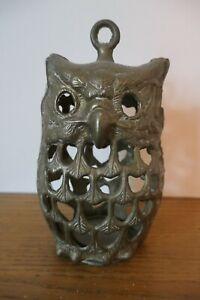 Vintage Brass Owl Tea Light Holder stand alone or hanging