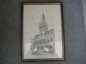 CONGLETON.NEW TOWN HALL CONGLETON SIGNED ANTIQUE PRINT J.R Jobbins. CHESHIRE