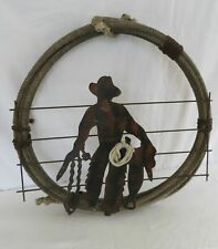 Ray Rizzo Cowboy with Lasso Original Metal Art Wall Hanging Western Decor