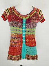 IVKO NEW M 38 Multi Color Stripe Floral Button Cotton Sweater Short Sleeve Boho