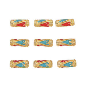 10pc Alloy Enamel Red&Blue Heart Beads Tube Column Golden Jewelry Beading 13.5mm