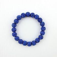 SPARKLY SHAMBALLA STRETCH SAPPHIRE BLUE BRACELET-20 x10mm BEADS-CZECH CRYSTAL-UK