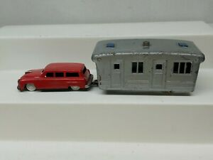 Vintage Tin Friction Toy Car w/ Camper Trailer Made in Japan No tires