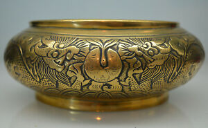 a good antique Chinese heavy bronze bowl or censer with dragons Xuande seal mark