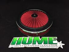 "HI FLOW 9"" X 2"" AIR CLEANER FILTER ASSEMBLY HOLLEY 4150 CHROME RED 45722"