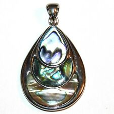 P1877L2 Triple Teardrop Abalone Shell 40mm Pendant w Silver Brass Setting & Bail