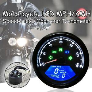 MPH/KMH LCD Universal Motorcycle Speedometer Odometer Tachometer Gauge Meter