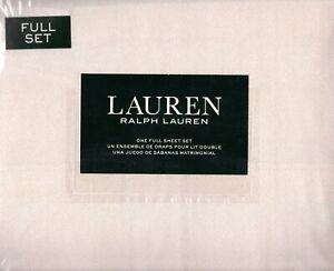 Ralph Lauren Full Sheet Set Pebbles 4pc Classic Country Blush Pink Cottage Dots