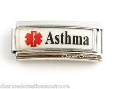 Asthma Caduceus Medical Alert ID 9mm Italian Charm Stainless Steel Superlink