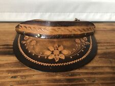 Vintage Visor - Hand Tooled Brown Leather - Headwear, Hats, Leather
