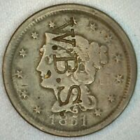 W B S Counterstamp on 1851 Braided Hair Large Cent US 1c Copper Coin