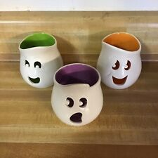 Retired Partylite Ghost Tealight Holders Trio of 3 Halloween Candle Holders Euc