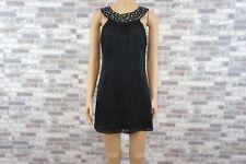GUESS Sexy Damen Cocktail Etui Mini Kleid mit Seide Schwarz Steinchen  S