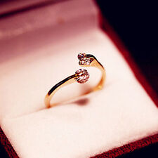 Sweet Cute Women Rose Gold Filled Crystal Rhinestone Wedding Ring Hot Jewelry