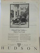 1922 magazine ad for Hudson - Closed Car Utility - Open Car Cost, Hudson Coach