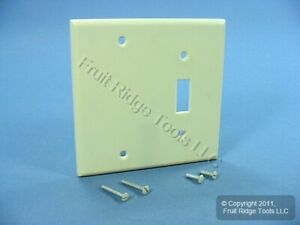 Leviton Ivory 2-Gang Toggle Switch Blank Cover Switchplate Blank Wallplate 86006