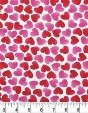"""FAT QUARTER VALENTINE'S PINK & RED HEARTS ON WHITE 100%COTTON FABRIC 18""""X22"""""""