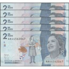 TWN - COLOMBIA 458 - 2000 2.000 Pesos Oro 19/8/2015 UNC Prefix AA DEALERS x 5