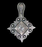 "Western Jewelry Cowgirl 1 3/8"" Antique Silver Sq. Old West Concho Pendant Kit"