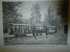 Gravure 19°  chemin de fer électrique de MM Siemens/ Halske exposition Vienne