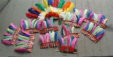 VINTAGE INDIAN HEADDRESS FEATHER PARTY FAVOR CHEIF SET OF 12 1950S