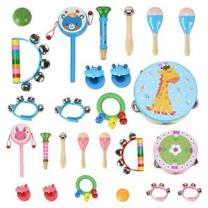 13pc Wooden Percussion  Musical Instruments Toys Toddlers For Kids Baby UK