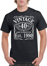 40th birthday t shirt Men Vintage Since 1980 Funny Printed Cotton Gifts for Men