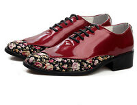 Mens Oxfords Patent Leather Flowers Lace Up Casual Dress Fashion Loafer Shoes YE