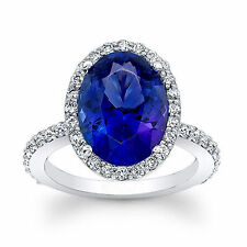 14K Hallmarked White Gold 4.13 Ct Natural Diamond Natural Blue Sapphire Ring