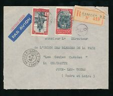 FRENCH SAHARA WW2 1940 MAY REGISTERED AIRMAIL F0 CIRCLED in MAUVE + RP CANCELS
