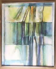 """Edna Lake """"Landscape"""" Abstract 1980s Modernist Painting,Vintage Acrylic,Signed"""