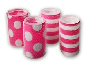 Mia Tonyrollers, Self Gripping Hair Rollers, Hair Curlers, Pink Dots + Stripes