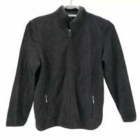 NEW Karen Scott Sport Womens Fleece Jacket Gray Zip Up Pockets Mock Neck PS