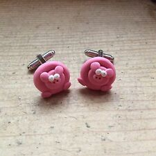pig cufflinks Handmade Farmers Ball Birthday Gift Oink Cute Novelty