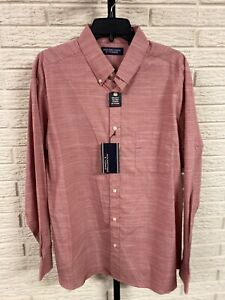 Roundtree & Yourke mens button down SHIRT red un-tucked XL NEW $49.50 #84