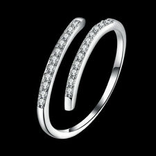 925 Sterling Silver Natural Zircon Cross Band Ring Adjustable